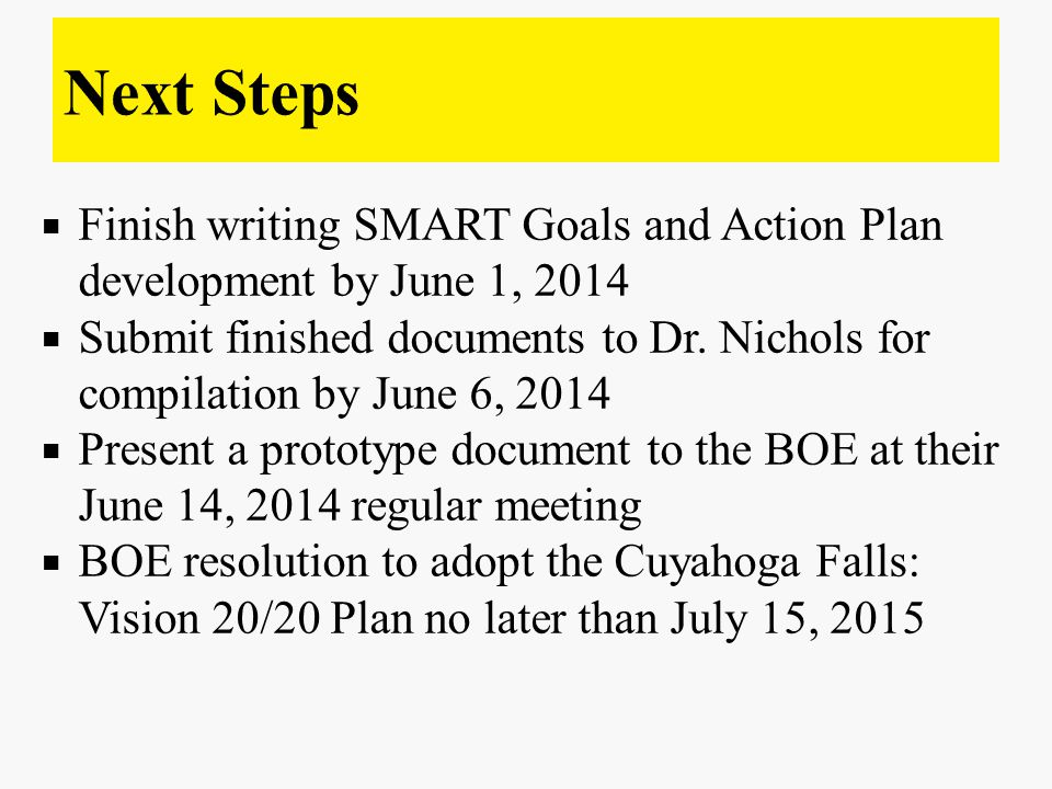  Finish writing SMART Goals and Action Plan development by June 1, 2014  Submit finished documents to Dr.