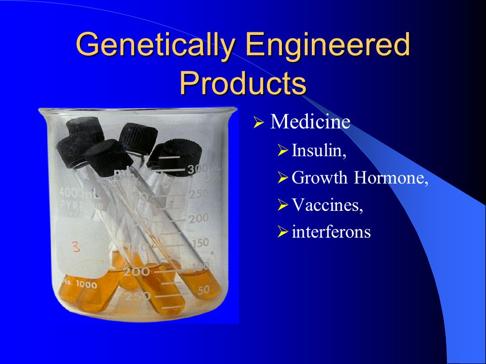 Genetically Engineered Products  Medicine  Insulin,  Growth Hormone,  Vaccines,  interferons