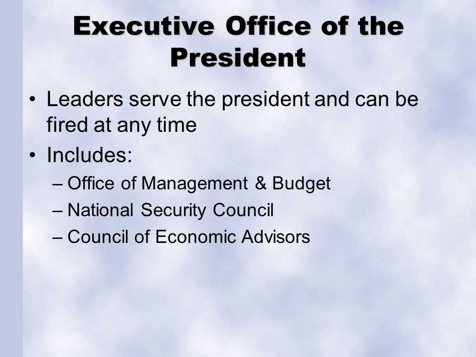 Executive Office of the President Leaders serve the president and can be fired at any time Includes: –Office of Management & Budget –National Security