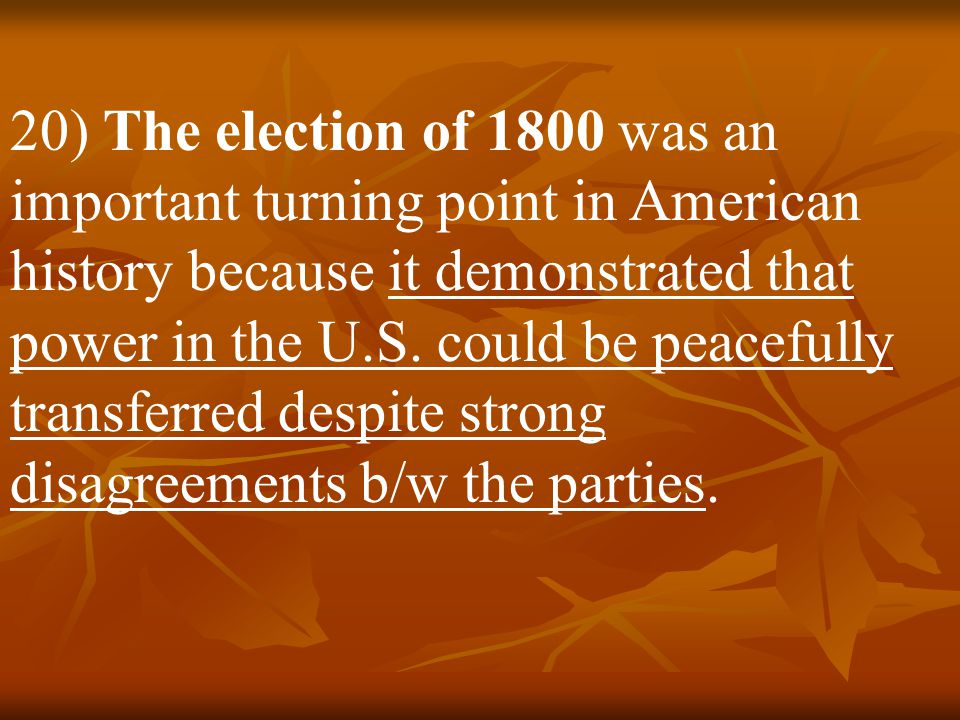 19) With Washington stepping down, the U.S. held its 1 st openly contested election in 1796. The Federalists rallied around John Adams, while the Repu