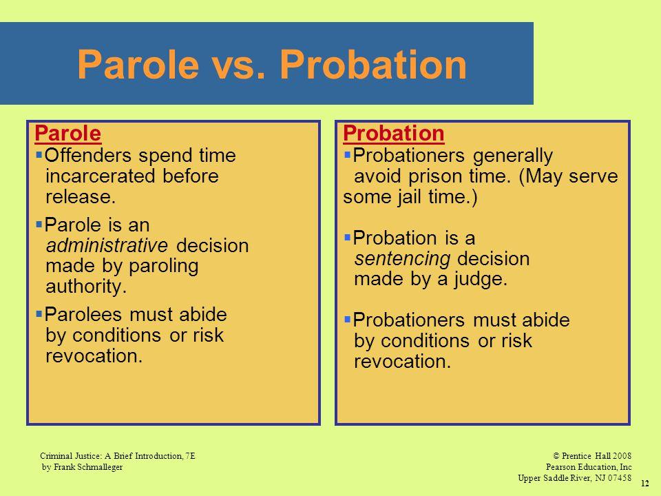 © Prentice Hall 2008 Pearson Education, Inc Upper Saddle River, NJ 07458 Criminal Justice: A Brief Introduction, 7E by Frank Schmalleger 12 Parole vs.