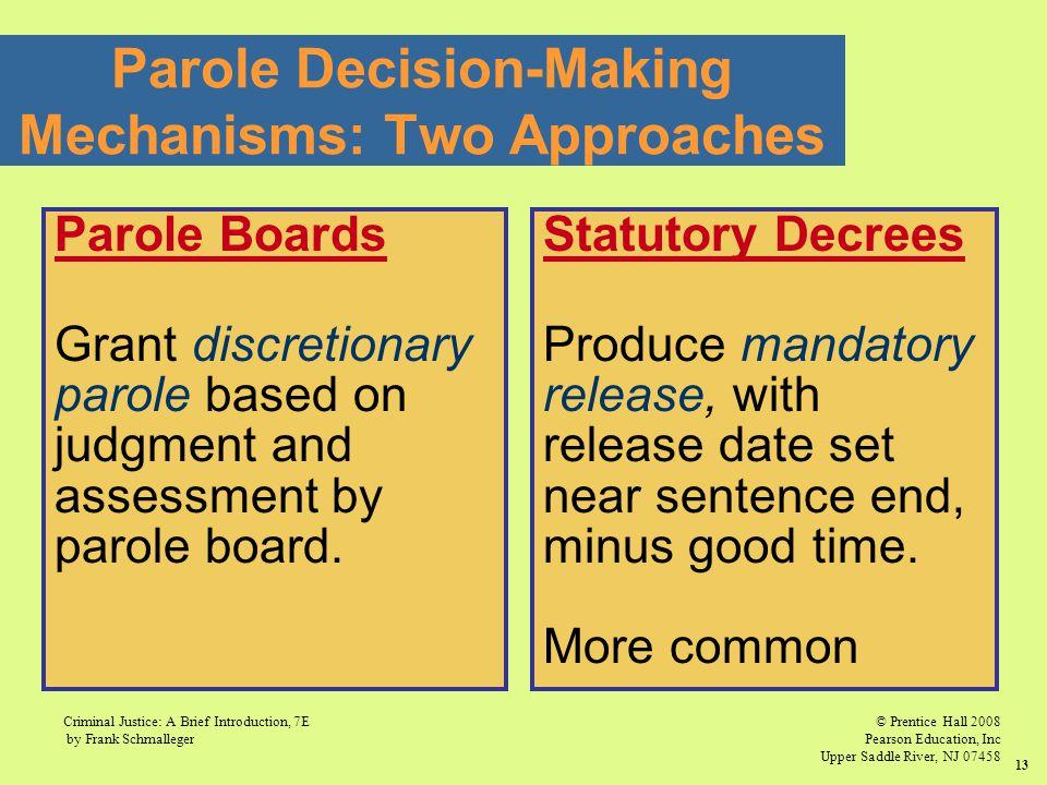 © Prentice Hall 2008 Pearson Education, Inc Upper Saddle River, NJ 07458 Criminal Justice: A Brief Introduction, 7E by Frank Schmalleger 13 Parole Dec