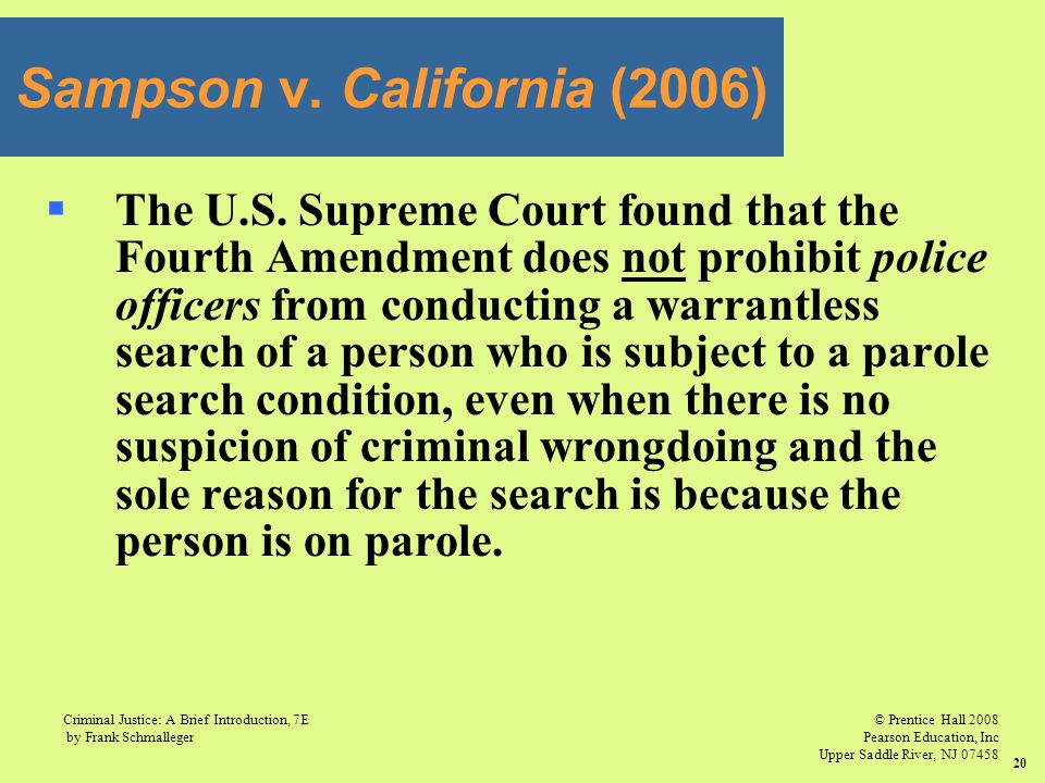 © Prentice Hall 2008 Pearson Education, Inc Upper Saddle River, NJ 07458 Criminal Justice: A Brief Introduction, 7E by Frank Schmalleger 20  The U.S.