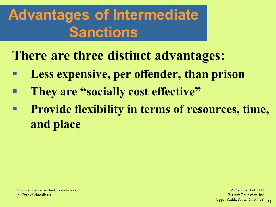 © Prentice Hall 2008 Pearson Education, Inc Upper Saddle River, NJ 07458 Criminal Justice: A Brief Introduction, 7E by Frank Schmalleger 32 There are