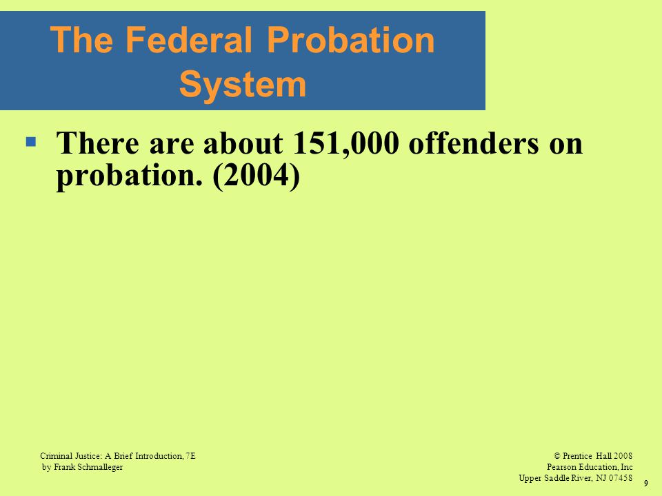 © Prentice Hall 2008 Pearson Education, Inc Upper Saddle River, NJ 07458 Criminal Justice: A Brief Introduction, 7E by Frank Schmalleger 9  There are