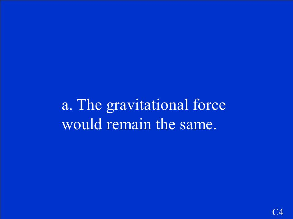 C4 What would happen to the gravitational force if the Earth were not spinning? a. The gravitational force would remain the same. b. The gravitational