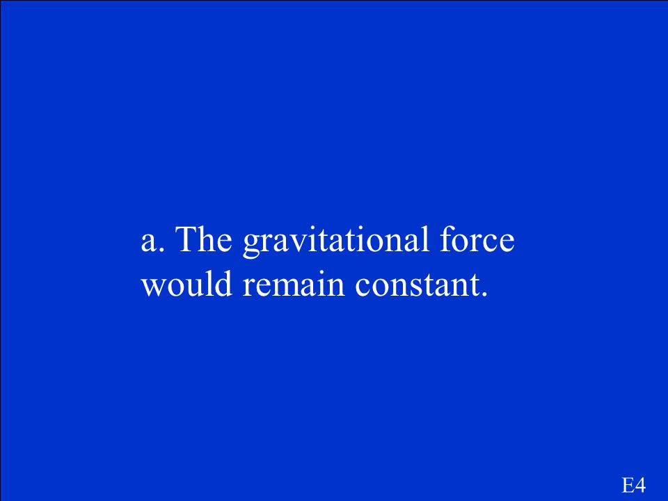 E4 What would happen to the gravitational force if the Earth had no atmosphere? a. The gravitational force would remain constant. b. The gravitational