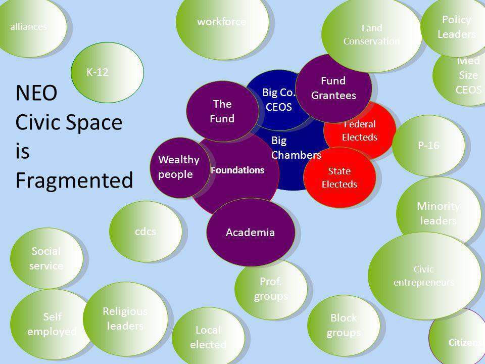 NEO Civic Space is Fragmented Foundations K-12 Citizens Prof.