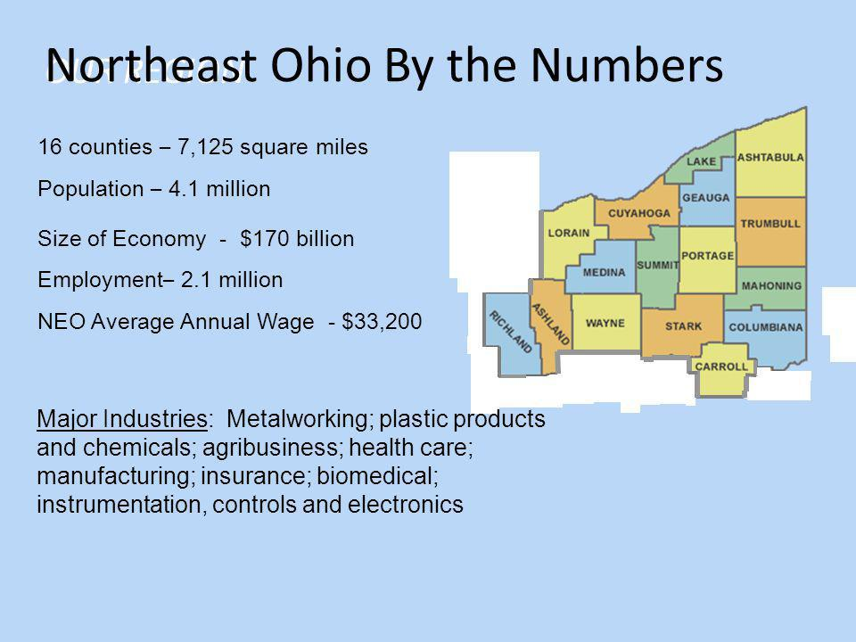 16 counties – 7,125 square miles Population – 4.1 million Size of Economy - $170 billion Employment – 2.1 million NEO Average Annual Wage - $33,200 OUR REGION Major Industries: Metalworking; plastic products and chemicals; agribusiness; health care; manufacturing; insurance; biomedical; instrumentation, controls and electronics Northeast Ohio By the Numbers