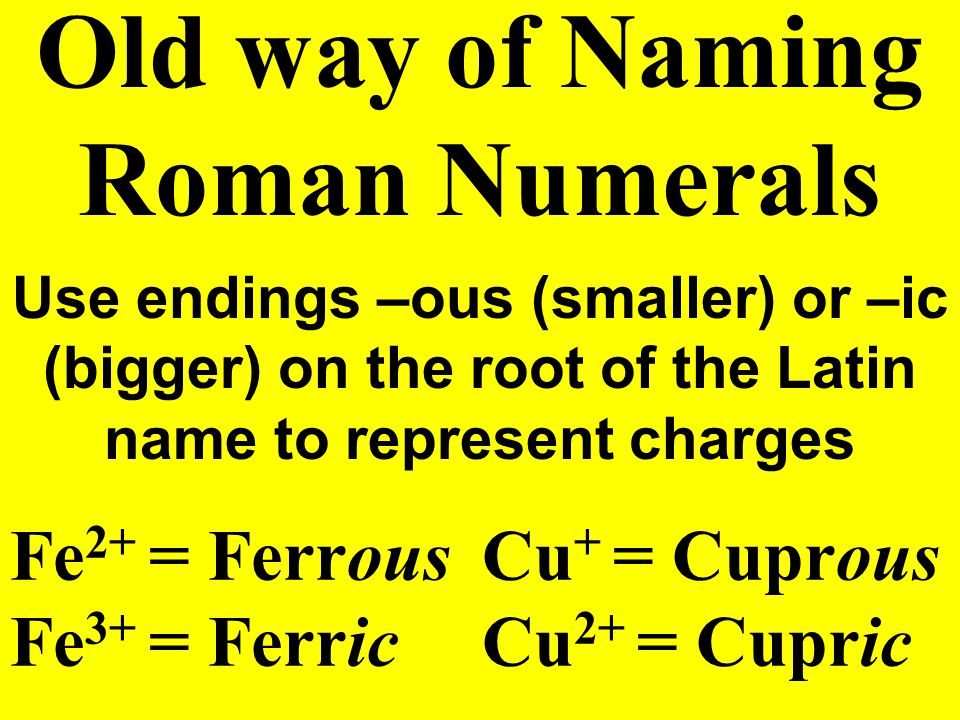 Name: Fe 2 O 3 Naming Roman Numerals Iron (III) Oxide