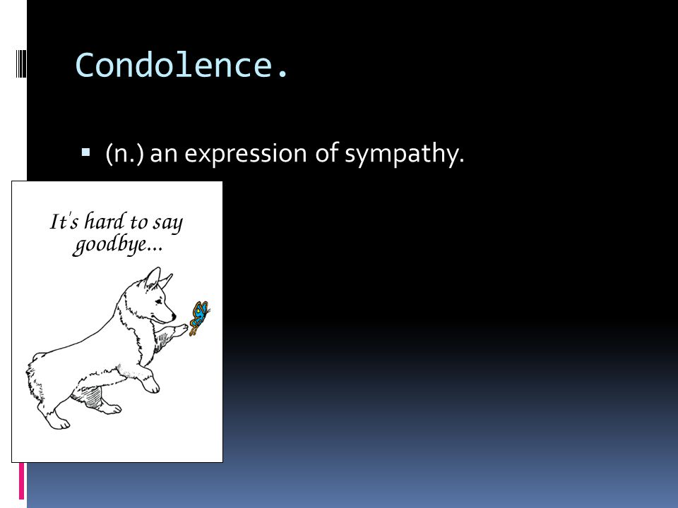 Condolence.  (n.) an expression of sympathy.