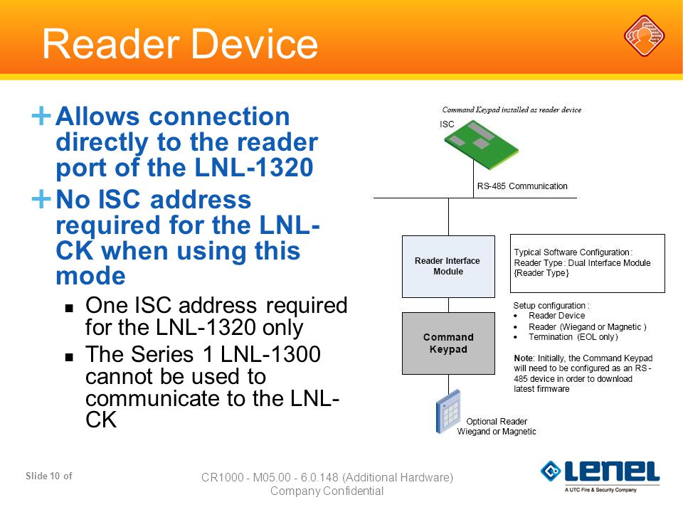 Slide 10 of CR1000 - M05.00 - 6.0.148 (Additional Hardware) Company Confidential Reader Device  Allows connection directly to the reader port of the