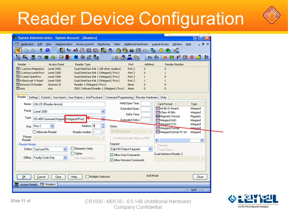Reader Device Configuration Slide 11 of CR1000 - M05.00 - 6.0.148 (Additional Hardware) Company Confidential Replace with Type of reader