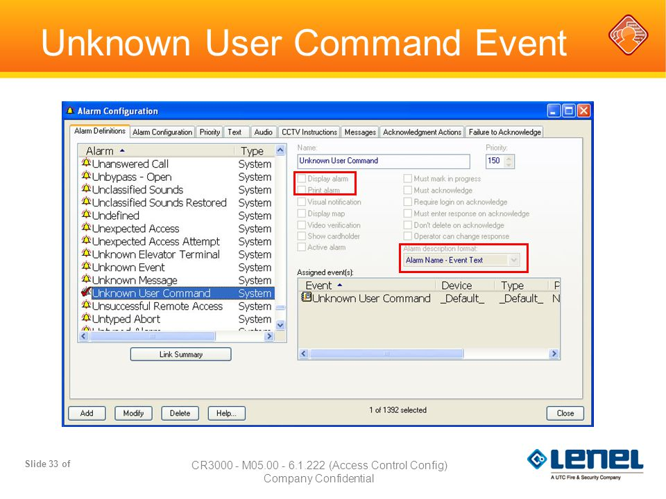 Slide 33 of CR3000 - M05.00 - 6.1.222 (Access Control Config) Company Confidential Unknown User Command Event