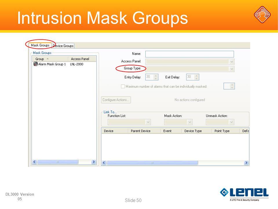 Intrusion Mask Groups DL3000 Version 05 Slide 50