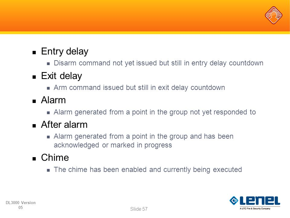 Entry delay Disarm command not yet issued but still in entry delay countdown Exit delay Arm command issued but still in exit delay countdown Alarm Ala