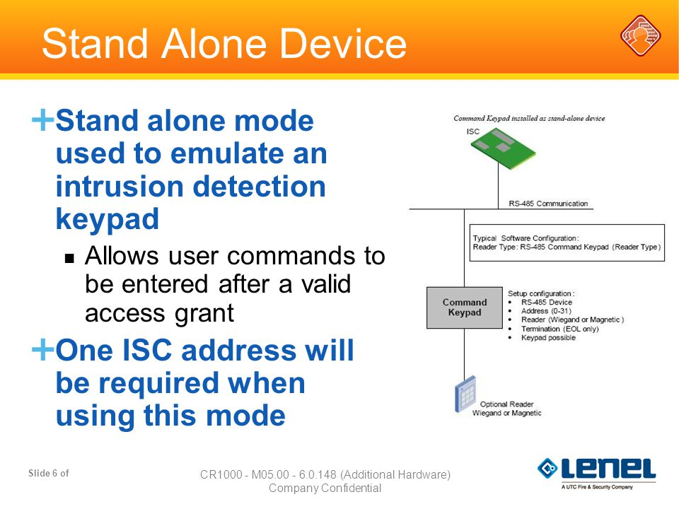 Slide 6 of CR1000 - M05.00 - 6.0.148 (Additional Hardware) Company Confidential Stand Alone Device  Stand alone mode used to emulate an intrusion det