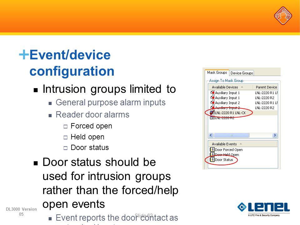  Event/device configuration Intrusion groups limited to General purpose alarm inputs Reader door alarms  Forced open  Held open  Door status Door
