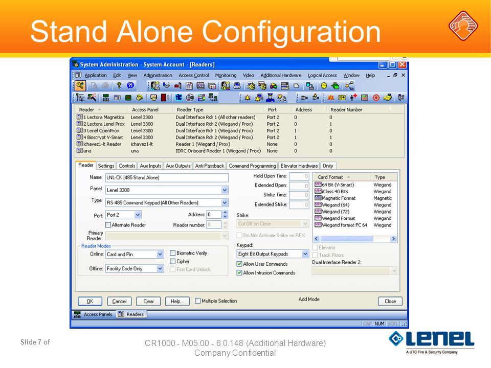 Slide 18 of CR3000 - M05.00 - 6.1.222 (Access Control Config) Company Confidential Alarm Mask Groups  Allows you to mask or unmask multiple alarm inputs and readers simultaneously  Uses Device – Event assignments to determine masking Each assignment can be assigned to only one masking group  Local IO function can be linked to the masking/unmasking of the group Can be used to show indication by activating device output upon unmasking System Administration//Access Control/Groups/Alarm Mask Groups