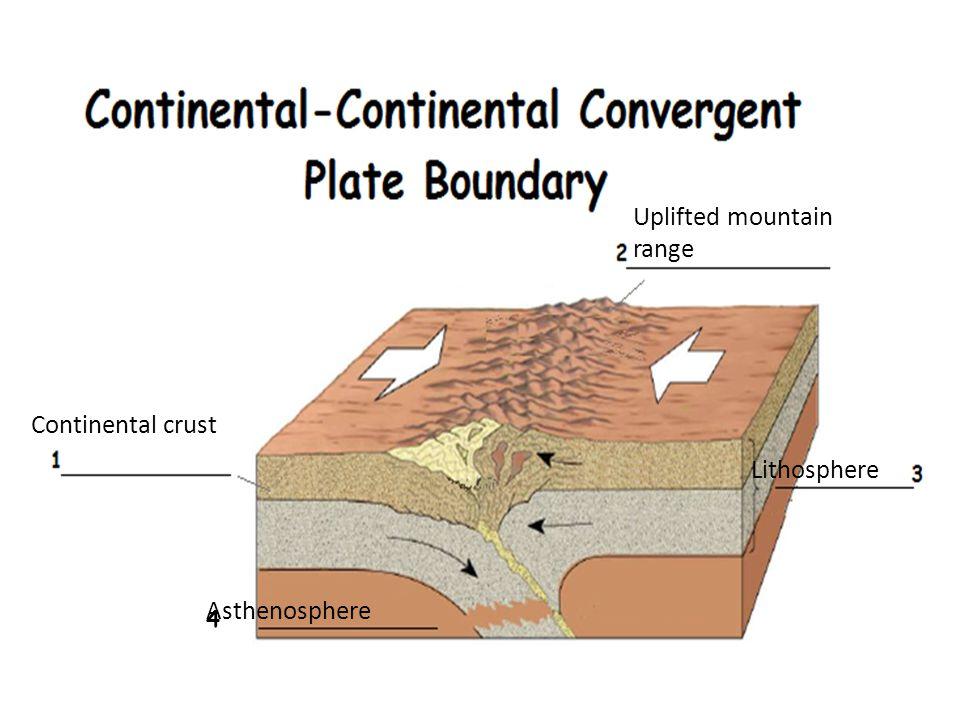 Continental crust Uplifted mountain range Lithosphere 4 Asthenosphere