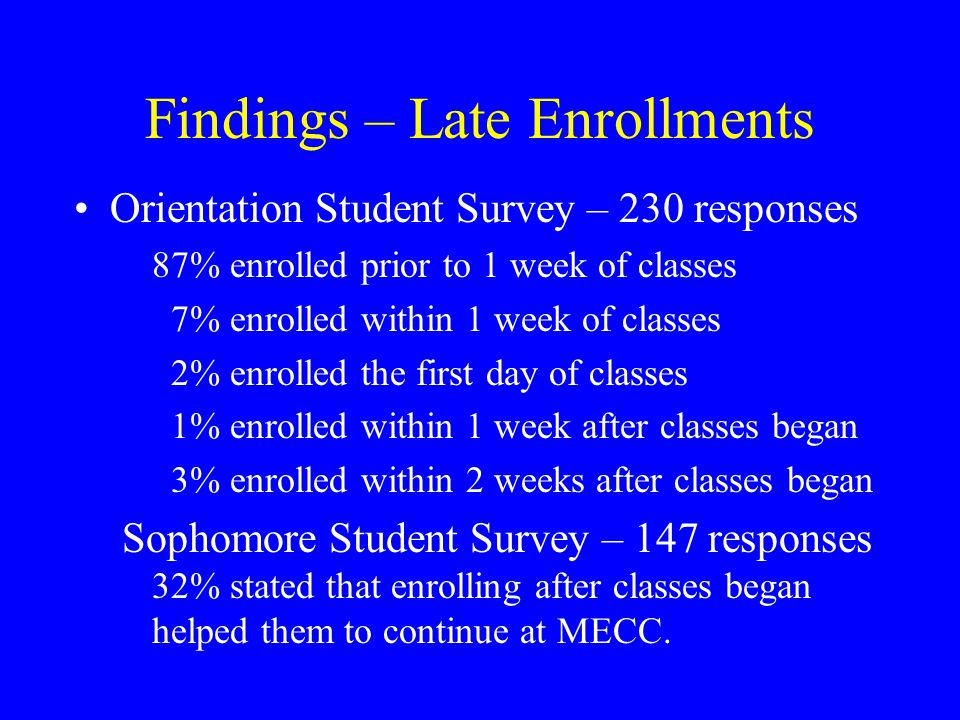 Findings – Late Enrollments Orientation Student Survey – 230 responses 87% enrolled prior to 1 week of classes 7% enrolled within 1 week of classes 2% enrolled the first day of classes 1% enrolled within 1 week after classes began 3% enrolled within 2 weeks after classes began Sophomore Student Survey – 147 responses 32% stated that enrolling after classes began helped them to continue at MECC.