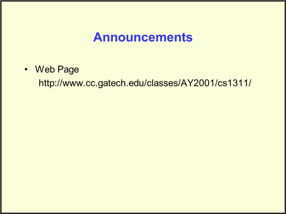 Announcements Web Page