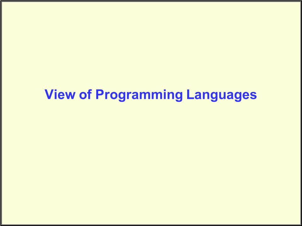 View of Programming Languages