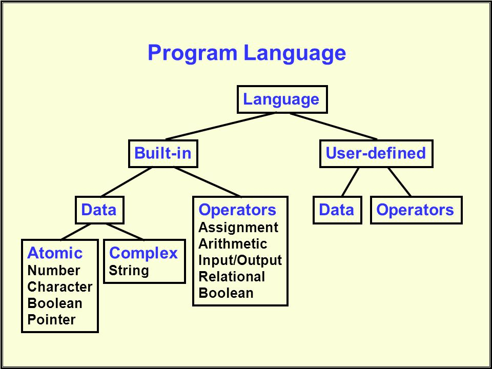 Program Language Language Built-inUser-defined DataOperators Assignment Arithmetic Input/Output Relational Boolean DataOperators Atomic Number Character Boolean Pointer Complex String