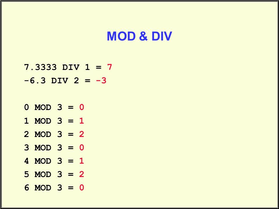 MOD & DIV 7.3333 DIV 1 = -6.3 DIV 2 = 0 MOD 3 = 1 MOD 3 = 2 MOD 3 = 3 MOD 3 = 4 MOD 3 = 5 MOD 3 = 6 MOD 3 = 7 -3 0 1 2 0 1 2 0