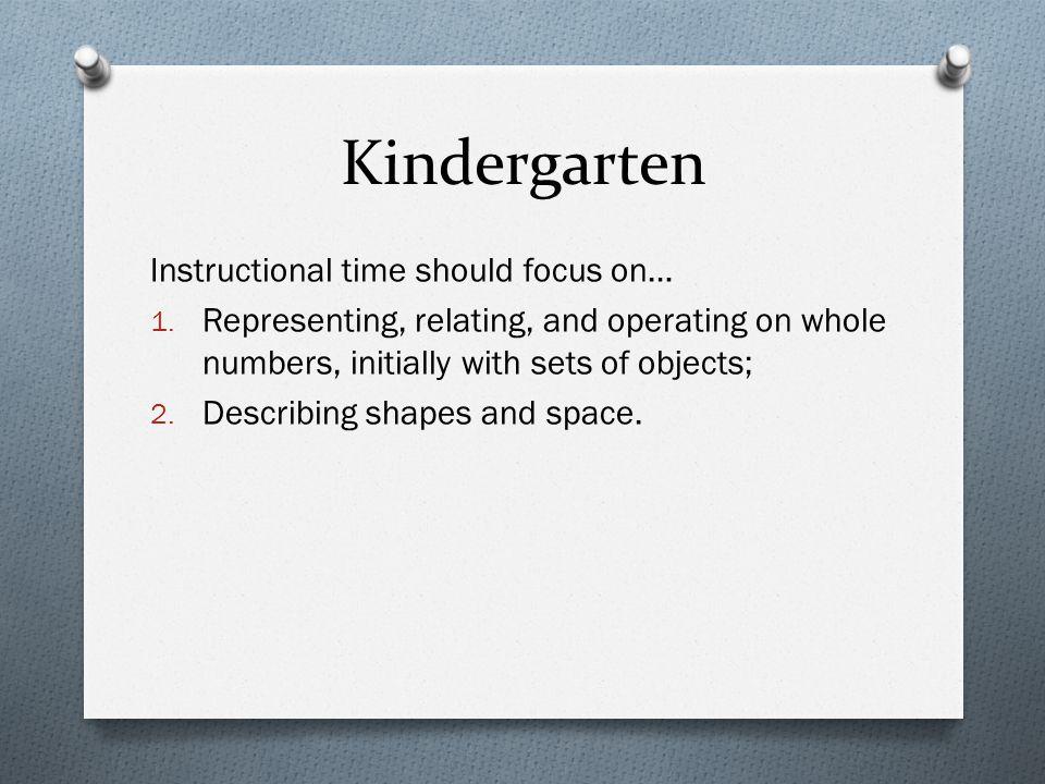 Kindergarten Instructional time should focus on… 1.