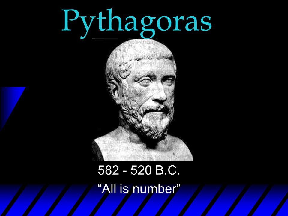 Pythagoras 582 - 520 B.C. All is number