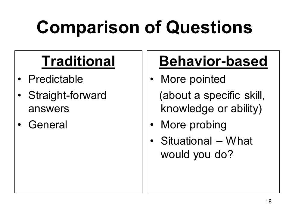 18 Comparison of Questions Traditional Predictable Straight-forward answers General Behavior-based More pointed (about a specific skill, knowledge or ability) More probing Situational – What would you do