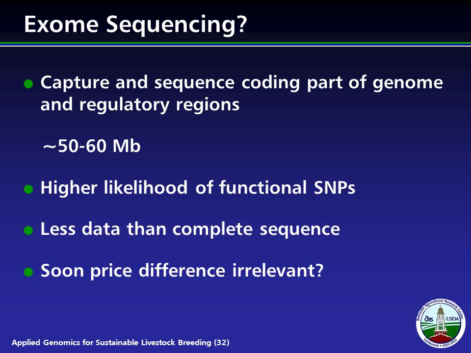 Applied Genomics for Sustainable Livestock Breeding (32) Exome Sequencing.