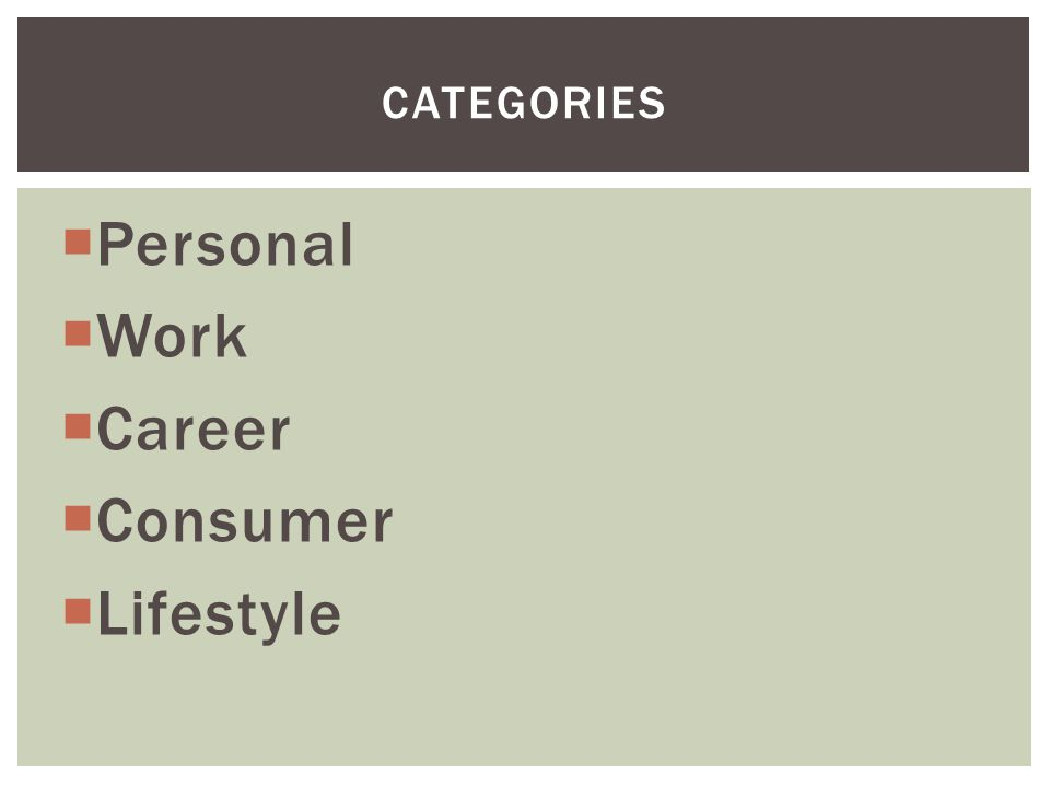  Personal  Work  Career  Consumer  Lifestyle CATEGORIES