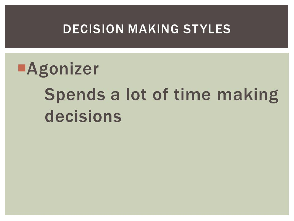  Agonizer Spends a lot of time making decisions DECISION MAKING STYLES