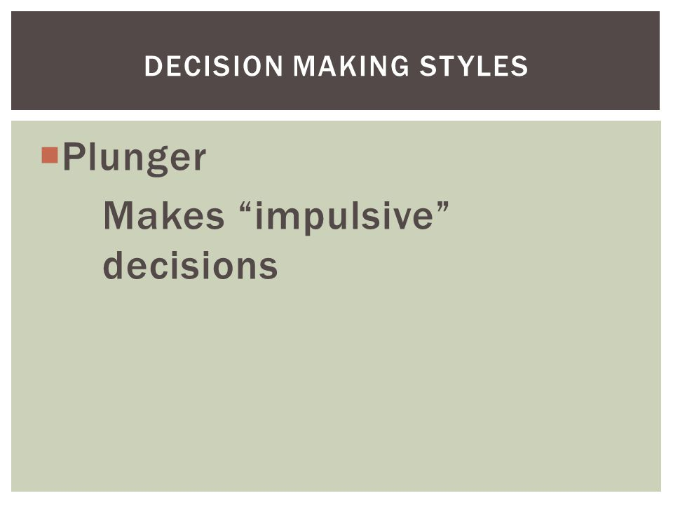  Plunger Makes impulsive decisions DECISION MAKING STYLES