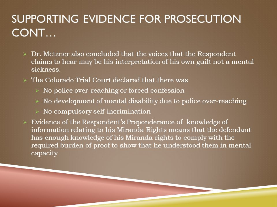 SUPPORTING EVIDENCE FOR PROSECUTION CONT…  Dr.