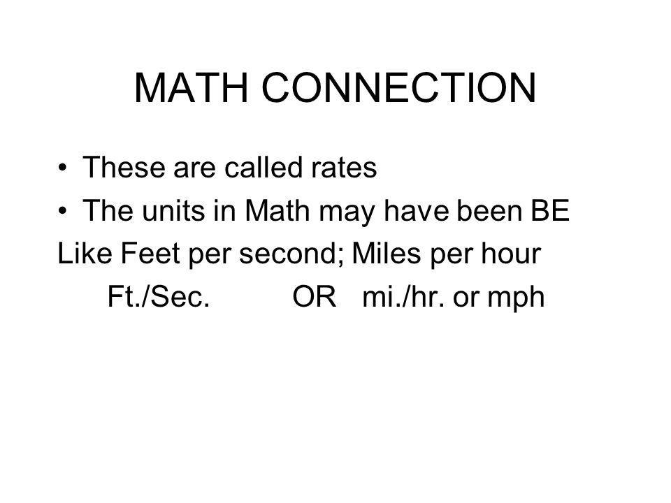 MATH CONNECTION These are called rates The units in Math may have been BE Like Feet per second; Miles per hour Ft./Sec. OR mi./hr. or mph