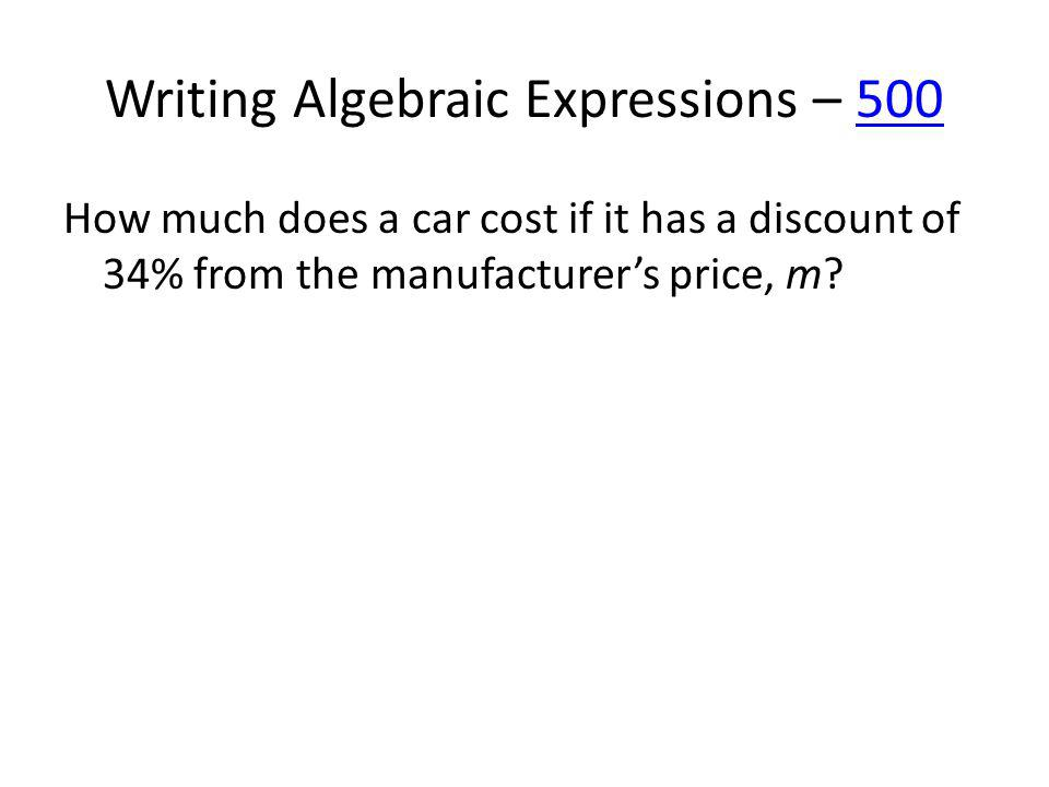 Evaluating Expressions – 100100 Evaluate the expression x – 4 when x = 7