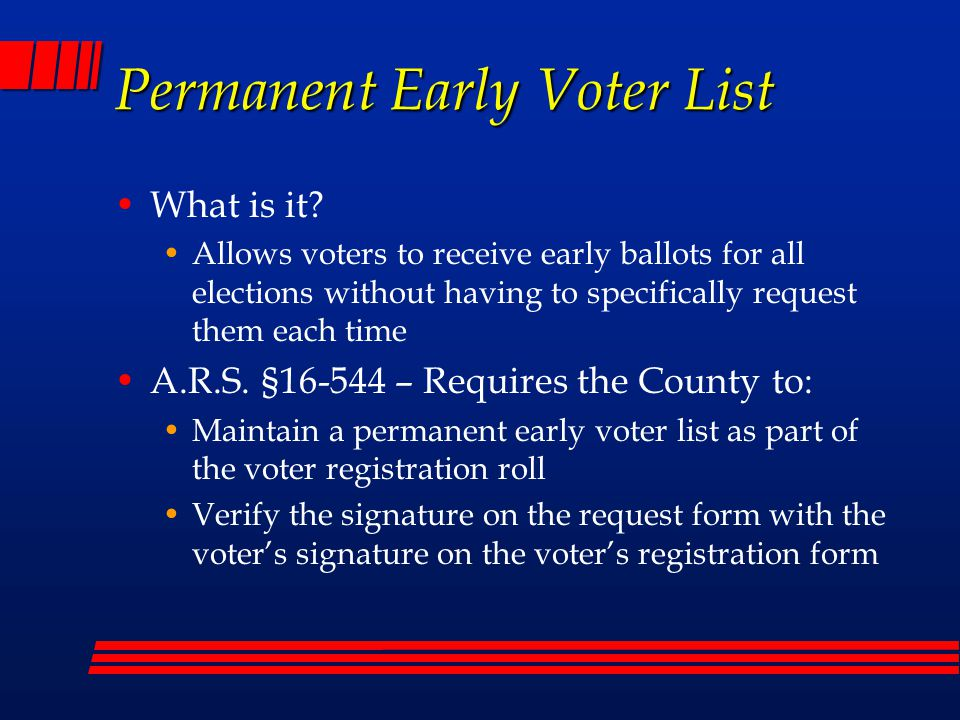 Permanent Early Voter List What is it.