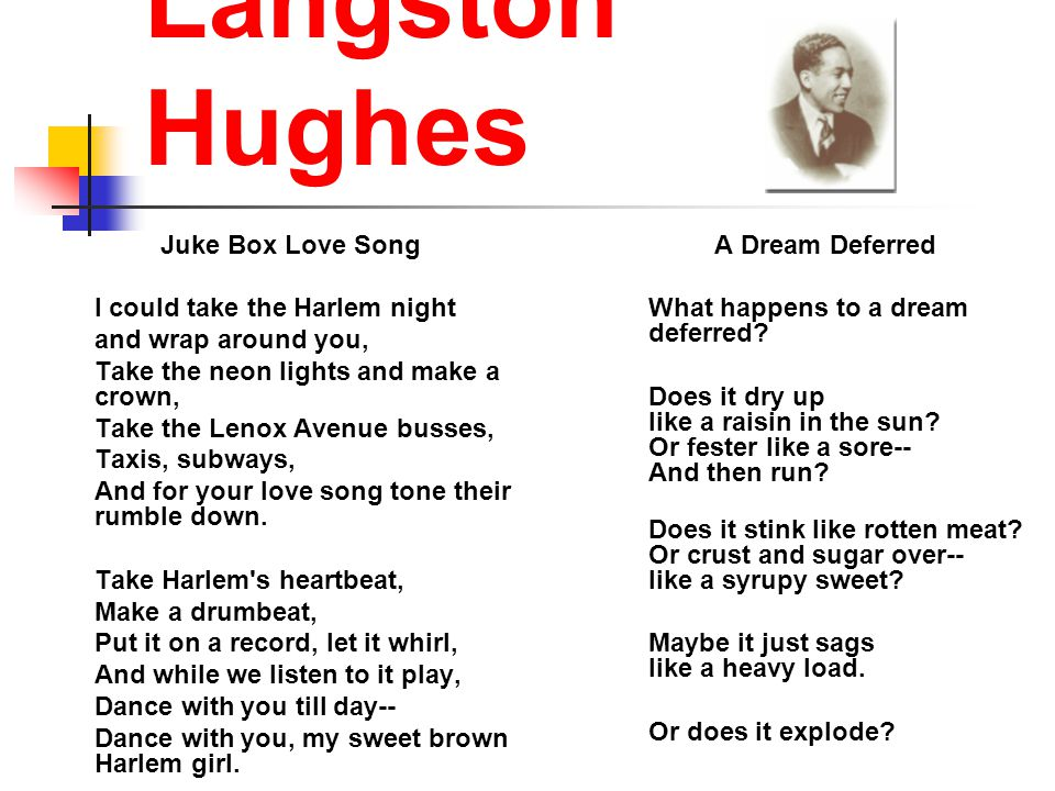Langston Hughes Juke Box Love Song I could take the Harlem night and wrap around you, Take the neon lights and make a crown, Take the Lenox Avenue busses, Taxis, subways, And for your love song tone their rumble down.