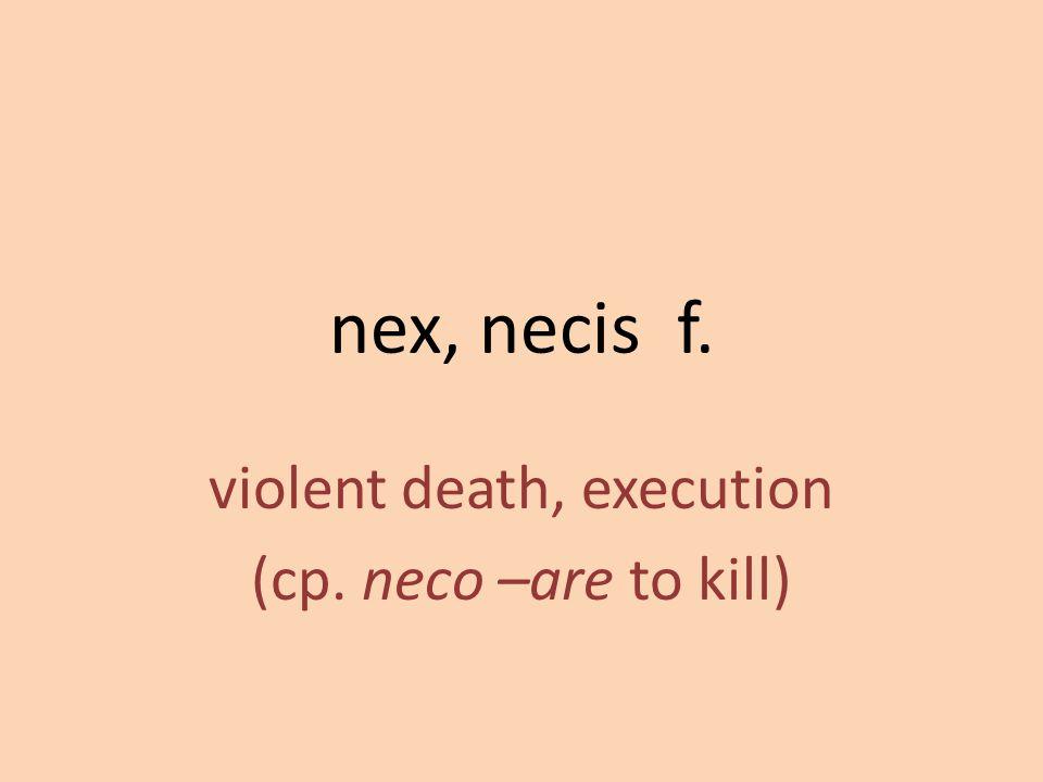 violent death, execution (cp. neco –are to kill)