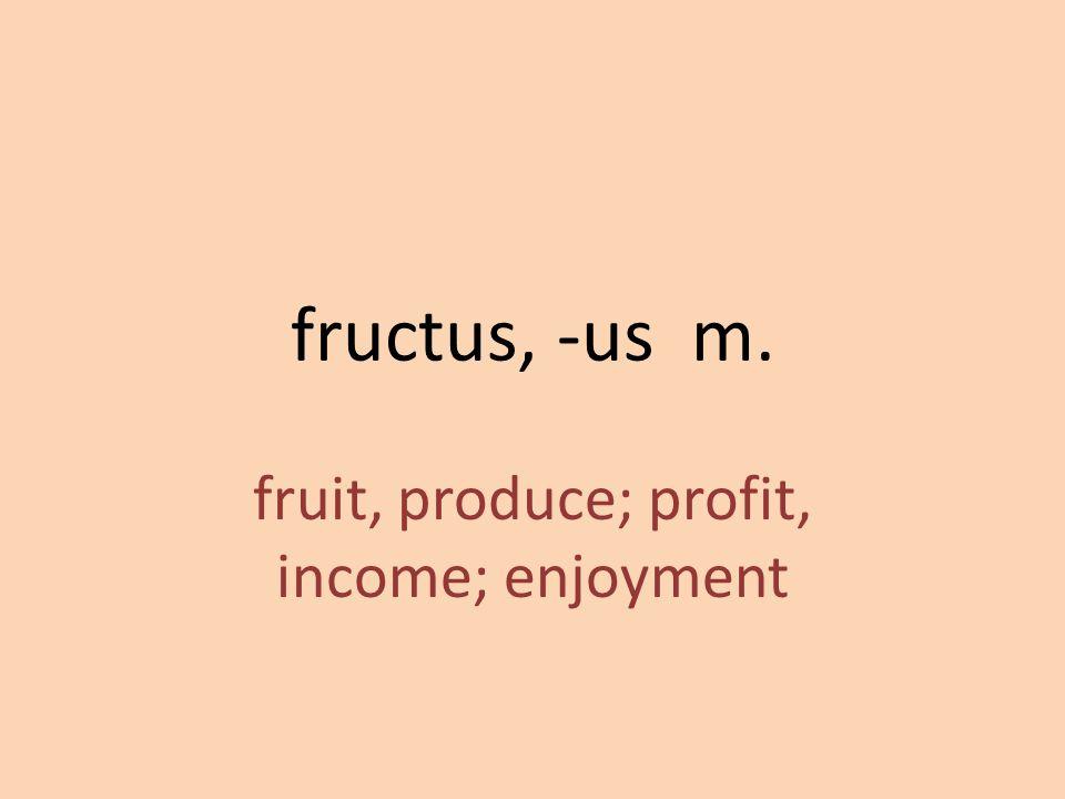 fruit, produce; profit, income; enjoyment