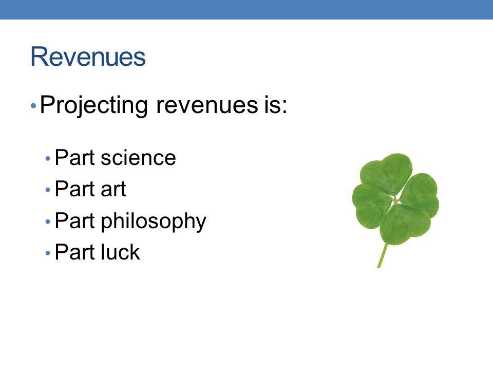 Revenues Projecting revenues is: Part science Part art Part philosophy Part luck
