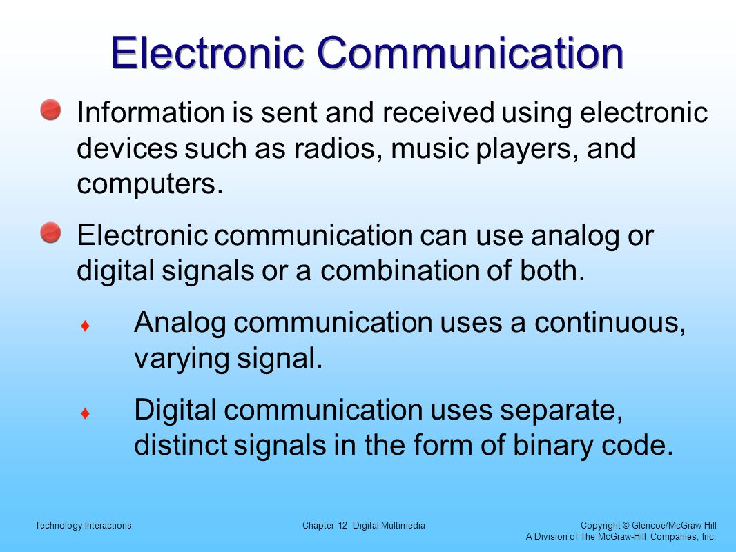 Technology InteractionsChapter 12 Digital Multimedia Copyright © Glencoe/McGraw-Hill A Division of The McGraw-Hill Companies, Inc. Electronic Communic