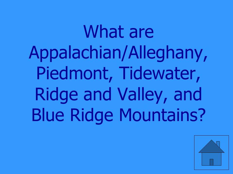 The five regions of Virginia.