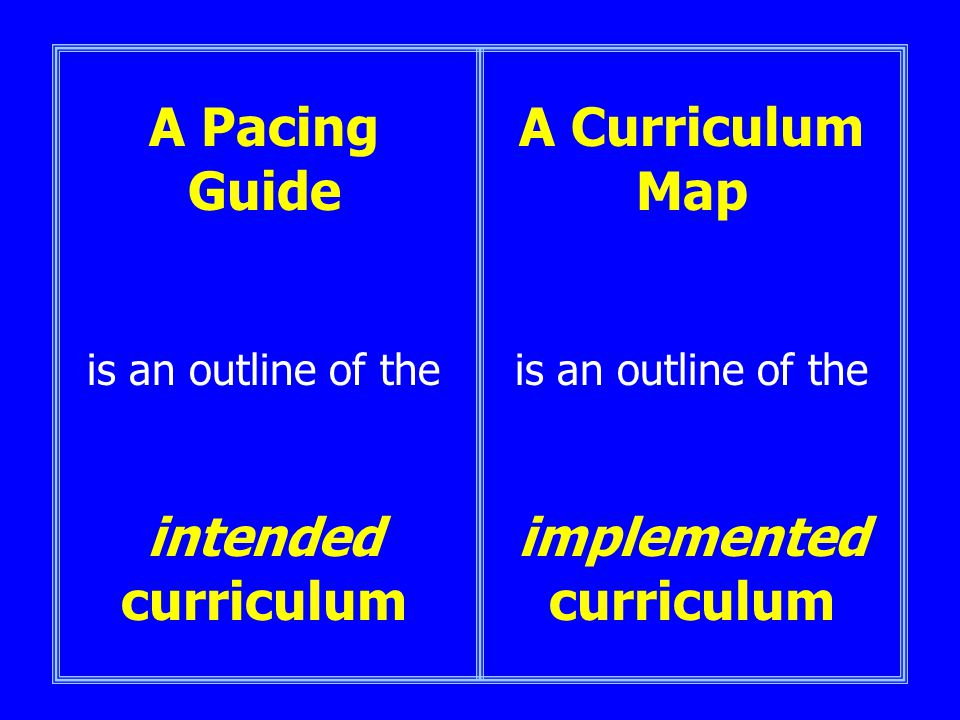 A Pacing Guide is an outline of the intended curriculum A Curriculum Map is an outline of the implemented curriculum