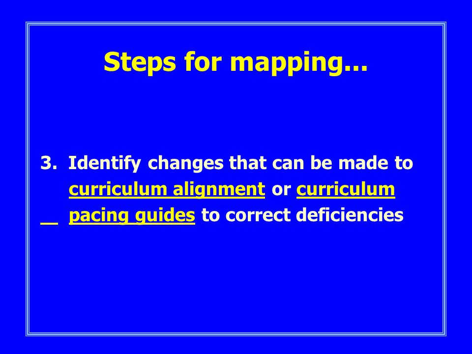 Steps for mapping