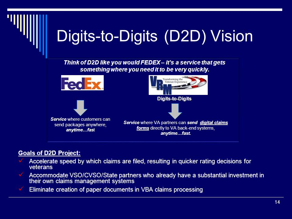 Digits-to-Digits (D2D) Vision 14 Goals of D2D Project: Accelerate speed by which claims are filed, resulting in quicker rating decisions for veterans