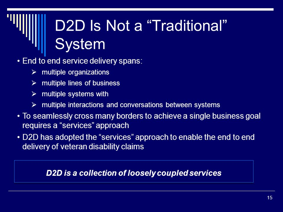 "D2D Is Not a ""Traditional"" System 15 End to end service delivery spans:  multiple organizations  multiple lines of business  multiple systems with"